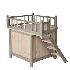 Wooden Cat Den Bed Dog Privacy Hideaway Sleeping Roof Terrace Indoor Steps