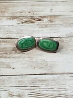 Vintage Clip On Earrings Silver Tone and Green Rectangle