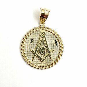 "New 10k yellow solid Gold freemason Masonic Pendant religious jewelry 0.97"" 4g"