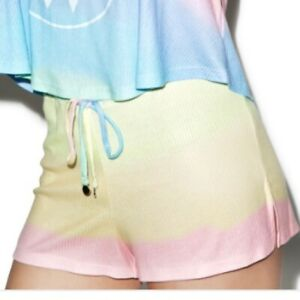 Wildfox Swim Rainbow Multi Color Shorts with Gold Harware Ultra Soft Szs. XS S M