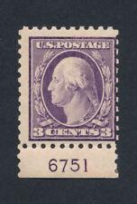 US 426 3¢ WASHINGTON Violet Plate Single MINT LH Selvage OG