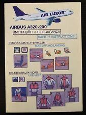 Air Luxor Airbus A320-200 Safety Card