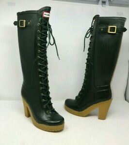 Rare Hunter Limited Edition Green Watling Lace Up Rubber Boots W24077 US 5M/ 6F