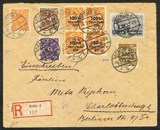 Reich Inflabrief met 208W, 227, 230, 4 x 258, 259 en 260; Infla geprüft