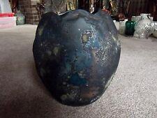 Rare Art Pottery VASE Brutalist RAKU Black Iridescent Lava Signed TONY EVANS #66