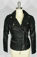"BLANK NYC Size XS ""Moto Oh No"" Quilted Shoulder Black Faux Leather Jacket NWT"