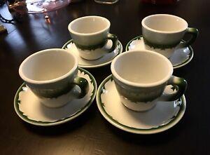 """Jackson China Restaurant Ware•""""Mercury"""" Cups & Saucers•Airbrush x4 Dark Grn Rim"""