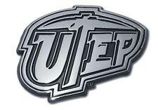 Texas El-Paso UTEP Miners Chrome Metal Auto Emblem NCAA Licensed