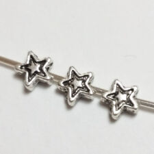 50pcs Antique Silver Small Star Beads Metal Spacer Jewellery Supplies 4mm B00393