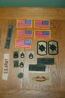 lot of united states army cavalry military patches, flag, rifle badge
