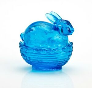 MOSSER GLASS EASTER BUNNY ON BASKET DISH COLONIAL BLUE