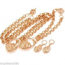 18K Gold Filled Filigree Heart Padlock Necklace/Bracelet/Earrings Set (S-160E)