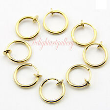 8PCS SPRING CLIP ON HOOP EARRINGS FAKE EYEBROW NOSE LIP RING GOLD PLATED JW155