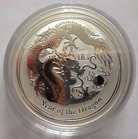 2012 Australian Perth Mint Lunar Year of the Dragon 1oz .999 Silver Bullion Coin