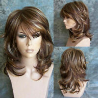 Women Curly Wavy Mixed Color Brown Hair Wig Synthetic Natural Wigs Cosplay Party
