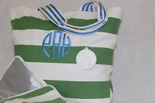 "PotteryBarn Striped Green White Harper Canvas Diaper Tote Bag NWT Free Ship ""eAH"
