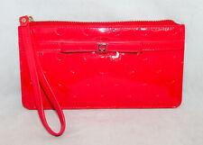 KATE SPADE WLRU1832 Camellia Str Jemima Bow Wristlet Red Patent PVC Emb Circles