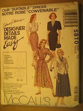"UNCUT Sewing Pattern 1992 McCALL'S 10,12,14,24 ""Suitable"" DRESS 5810 [Z180]"
