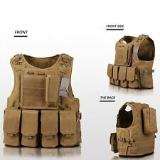 SWAT Tan Tactical Airsoft Vest Plate Carrier Hunting Training Molle