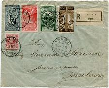 1911 Cinquantenario dell'Unità d'Italia Serie Completa su Busta RACCOMANDATA VG.