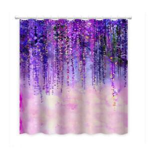 3D Flower Print Shower Curtain Home  Set Hook Natural Landscape Nordic Style