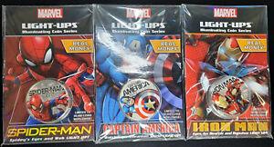 2017 Fiji Marvel Coins Set of 3 Spiderman Captain America Iron Man