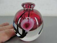 STUDIO ART GLASS HAND BLOWN BUD VASE SIGNED 03 BLEEDING HEART FLOWER PINK BLACK