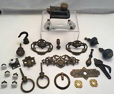 ANTIQUE c1880 ARCHITECTURAL SALVAGE BRASS & PORCELAIN HARDWARE LOT PULLS KNOBS +
