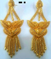 22K Gold Plated Designer 4'' Long Beautiful Indian Wedding Earrings Jhumka .a
