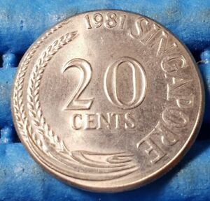 Error 1981 Singapore 20 Cents Sword Fish Coin Uncirculated ( RARE )