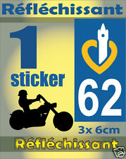 1 Sticker REFLECHISSANT département 62 rétro-réfléchissant immatriculation MOTO