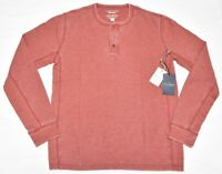 Lucky Brand Thermal Henley Men's Size M Venice Burnout Shirt Tee Red Pear N835