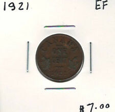 Canada 1921 Penny 1 Cent EF Lot#3
