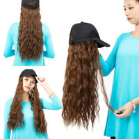 Baseball Cap with Long Corn Wave Hair Full Wigs Brown Wavy HairPiece For Human