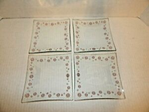 The Pampered Chef - Set of 4 - Clear Daisy Square Glass Dessert Plates - NIB NEW