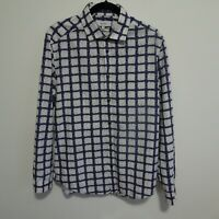 Reiss Size L XL Slim Fit Navy Blue White Patterned Shirt Smart Party Mens 42""