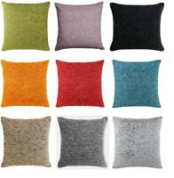 "Plain Chenille FILLED Cushion Covers 18""x 18"" Great Colours And Quality,FREE P&P"