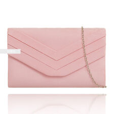 Baby Pink Suede Wedding Ladies Party Prom Evening Clutch Hand Bag Purse HandBag