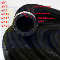 AN -4 AN6 -6 AN8 -8 -10 10AN -12 -16 -20 Oil Fuel Line Gas Rubber Hose 1foot Bk