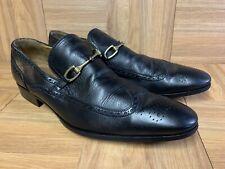 NICE🔥 Gucci Gold Horsebit Brogue Wingtip Slip On Black Leather Shoes Sz 10 D