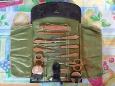 Antique Nail Care Kit Manicure Celluloid 13 Pc Leather Roll Up Leather La Cross