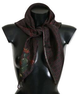 DOLCE & GABBANA Scarf Bordeaux 100% Silk Floral Lemon Wrap 85cm x 85cm RRP $300
