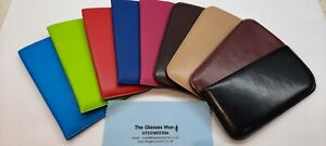 GLASSES SPECTACLE CASES LEATHER EFFECT SLIP IN CASES NINE DIFFERENT COLOURS CE