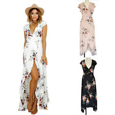 Womens Sexy V Neck Summer Beach Holiday Long Maxi Floral Dress Short Sleeve 8-16