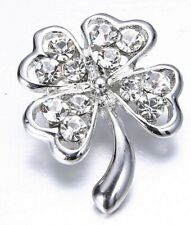Silver 4 Leaf Clover Badge Brooch Good Luck St Paddys Day Irish Gems Jewelry WOW