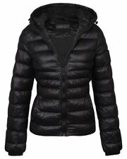 Womens Winter Padded Quilted Glossy Outdoor Puffer Hooded Jacket Coat UK8-16