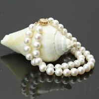 "2 ROW AAA 8-9MM SOUTH SEA WHITE PEARL BRACELET 7.5-8""14K GOLD CLASP"