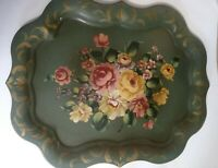 Vintage Tole Tray Hand Painted Floral Roses USA Sticker 25x20 Green Sage Gold