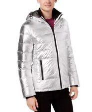 Calvin Klein Silver Puffer Jacket Men's Size M Vegan Friendly NWT NEW