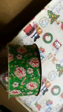 "Vintage Strawberry Shortcake Holiday Green Candy Cane ribbon 8ft. 2"" craft"